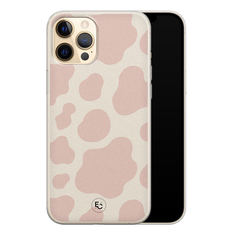 ELLECHIQ iPhone 12 siliconen hoesje - Koeienprint roze