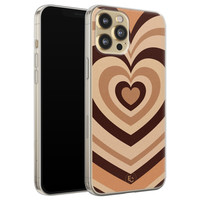 ELLECHIQ iPhone 12 siliconen hoesje - Hart bruin