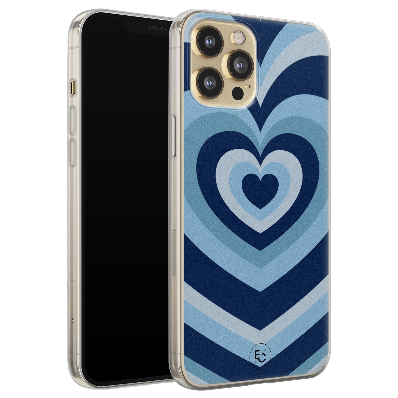 ELLECHIQ iPhone 12 siliconen hoesje - Hart blauw