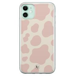 ELLECHIQ iPhone 11 siliconen hoesje - Koeienprint roze