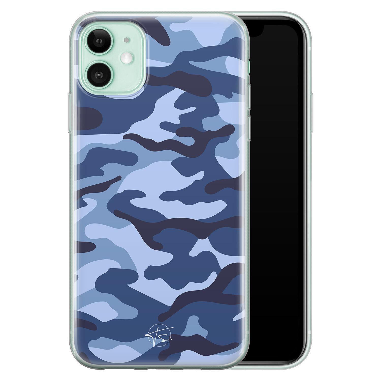 Telefoonhoesje Store iPhone 11 siliconen hoesje - Camouflage blauw