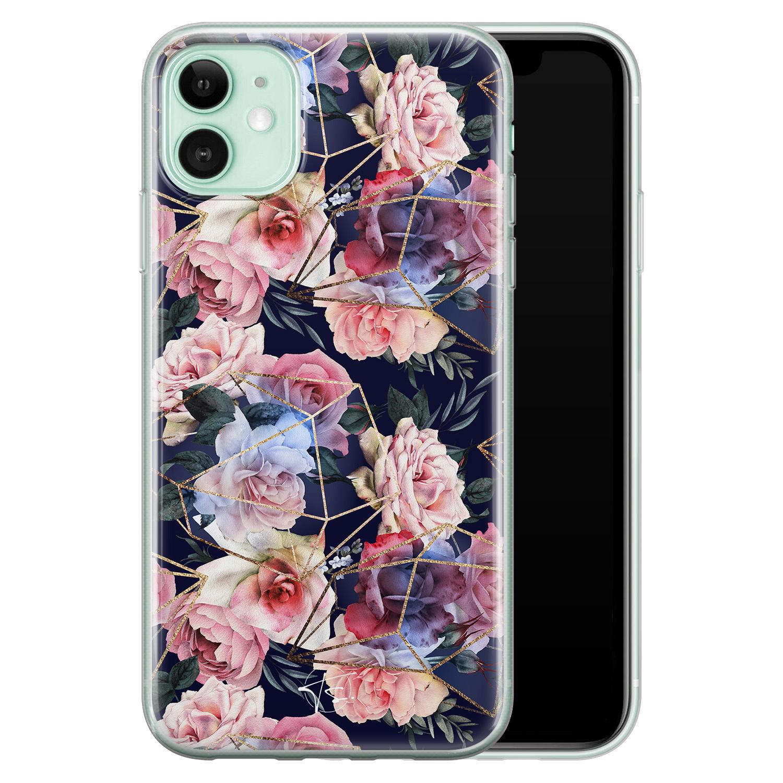 Telefoonhoesje Store iPhone 11 siliconen hoesje - Geometrisch bloemen