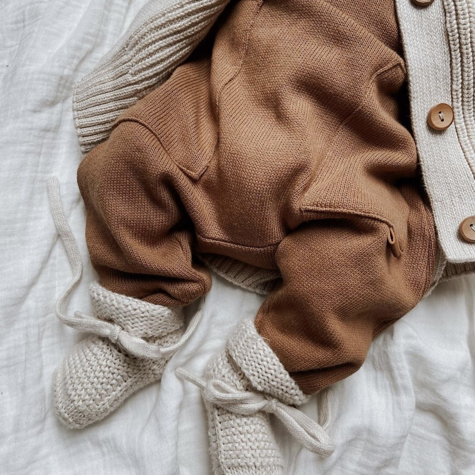 GUAPOO GUAPOO |Soft Knit Booties - Oat 0-3 maanden