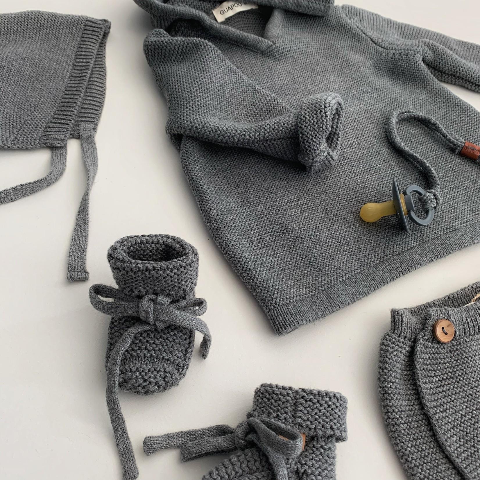 GUAPOO GUAPOO  Soft Knit Hoodie - Dark Grey