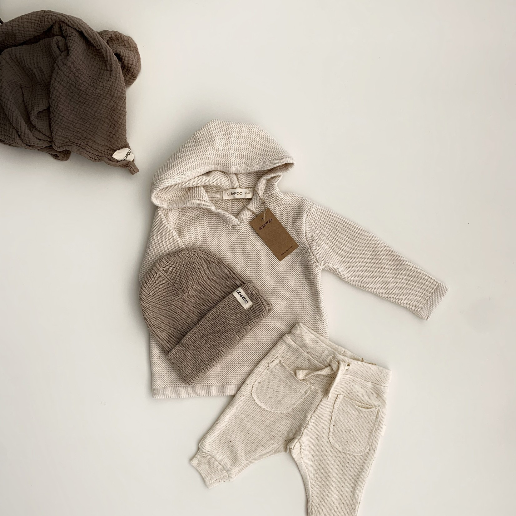 GUAPOO GUAPOO  Soft Knit Hoodie - Oat