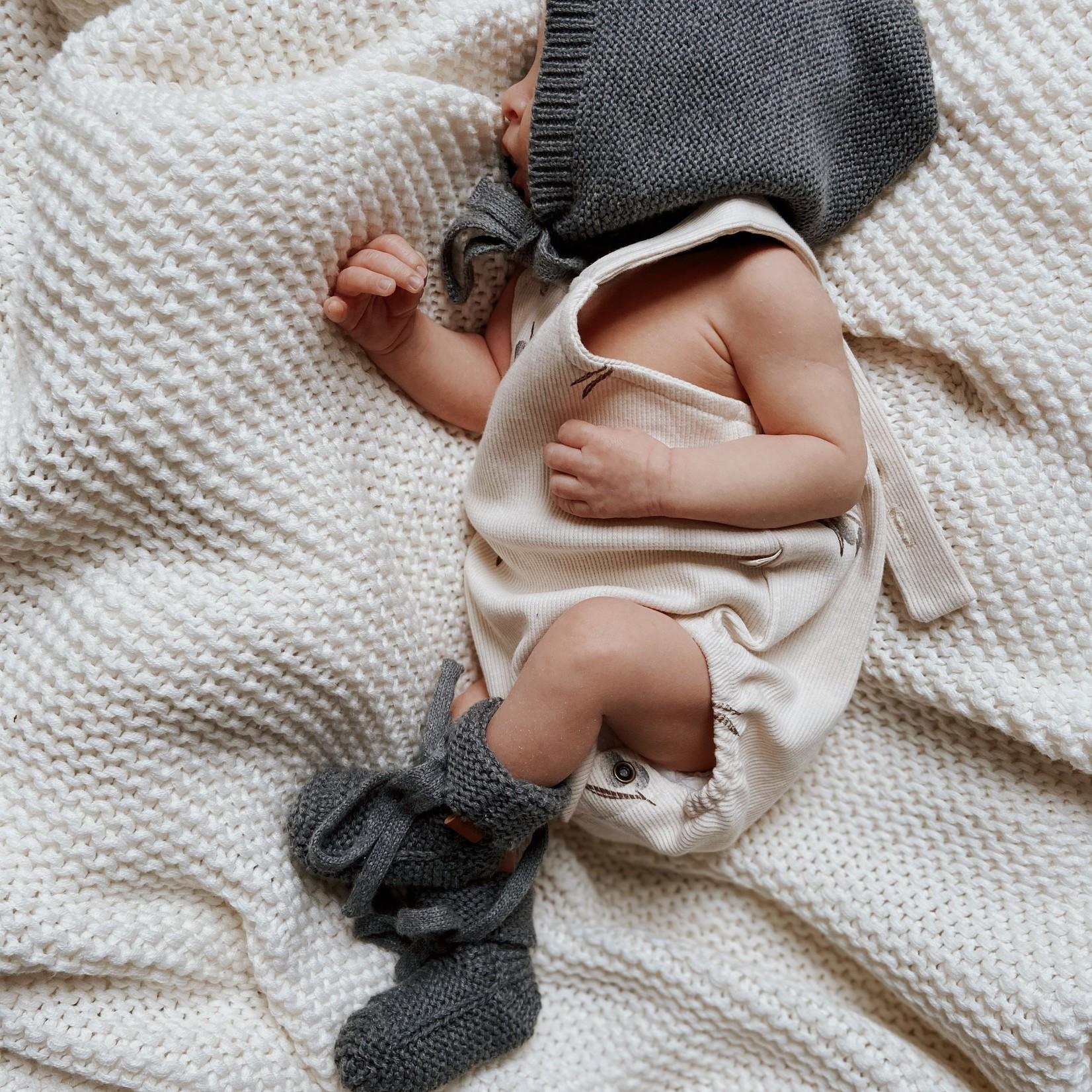 GUAPOO GUAPOO  Soft Knit Booties - Dark Grey 0-3 maanden