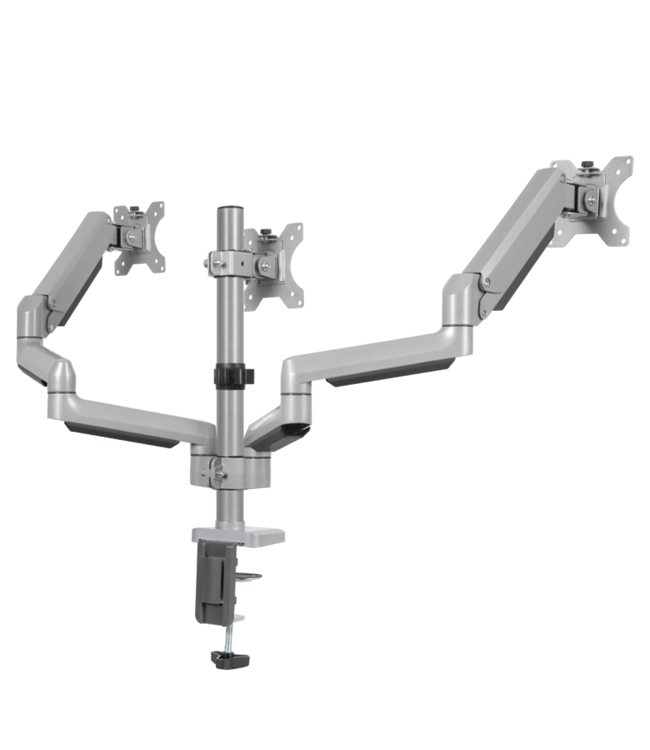 DQ Wall-Support Monitorarm Cromo zilver driedubbel