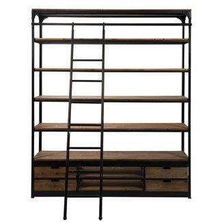 Rootsmann Industriële boekenkast met ladder | Classic