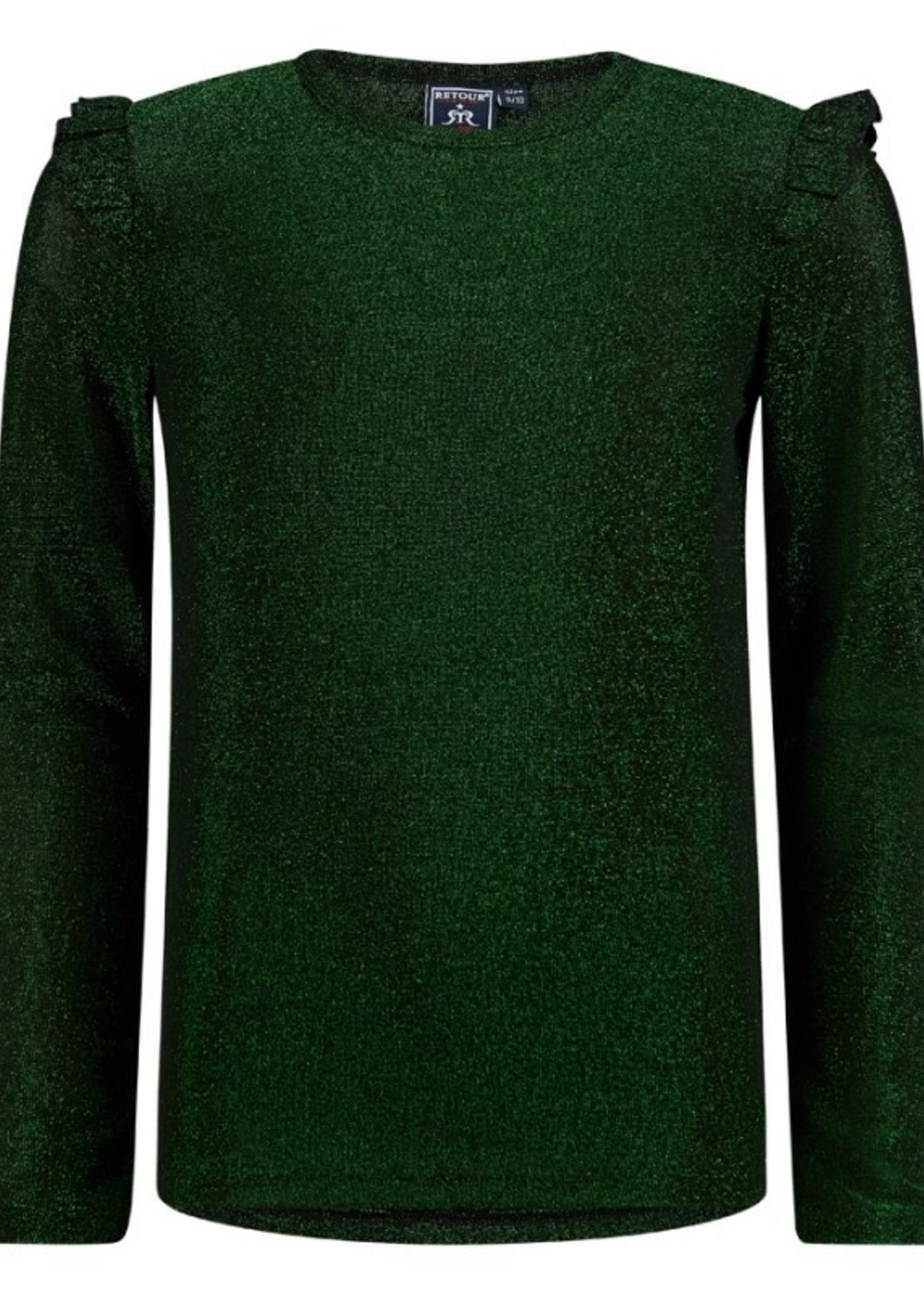 Retour T-shirt groen glitter