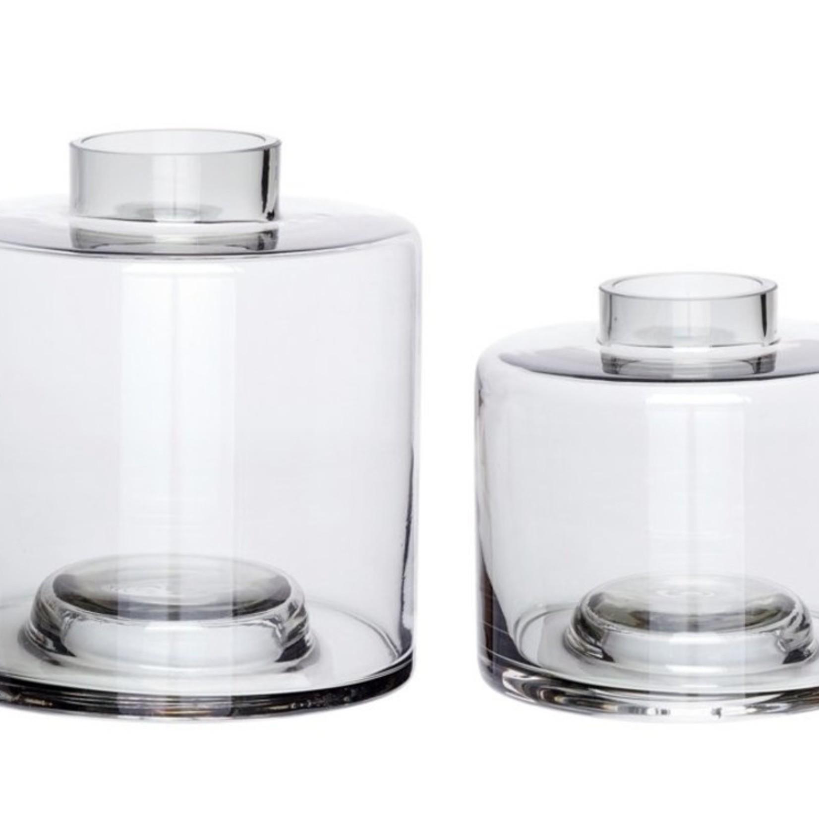 Hübsch Hübsch vaasjes, Smoked glass, set van 2