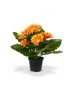 Gerbera kunstplant 30 cm oranje in pot