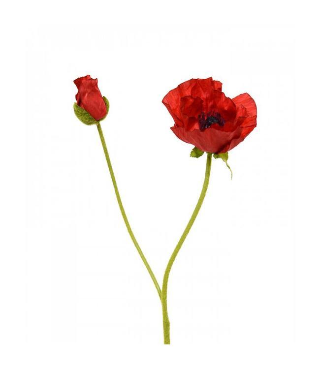 Klaproos Deluxe kunstbloem 70 cm rood