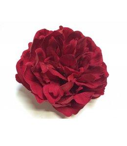 Pioenroos rood op clip 10 cm