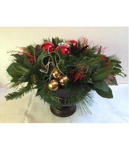 Kerststuk rond rood/goud 30 cm