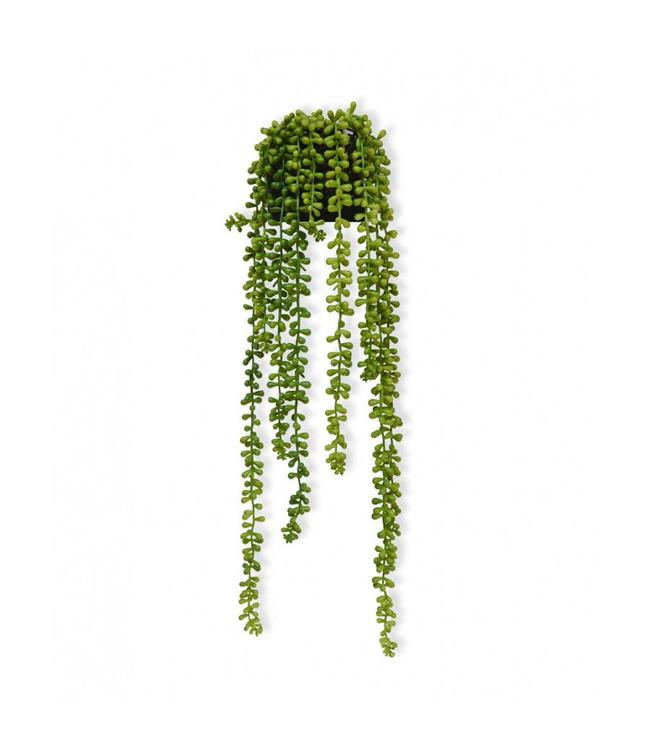 2x Senecio Pearl kunsthangplant 55 cm in sierpotje
