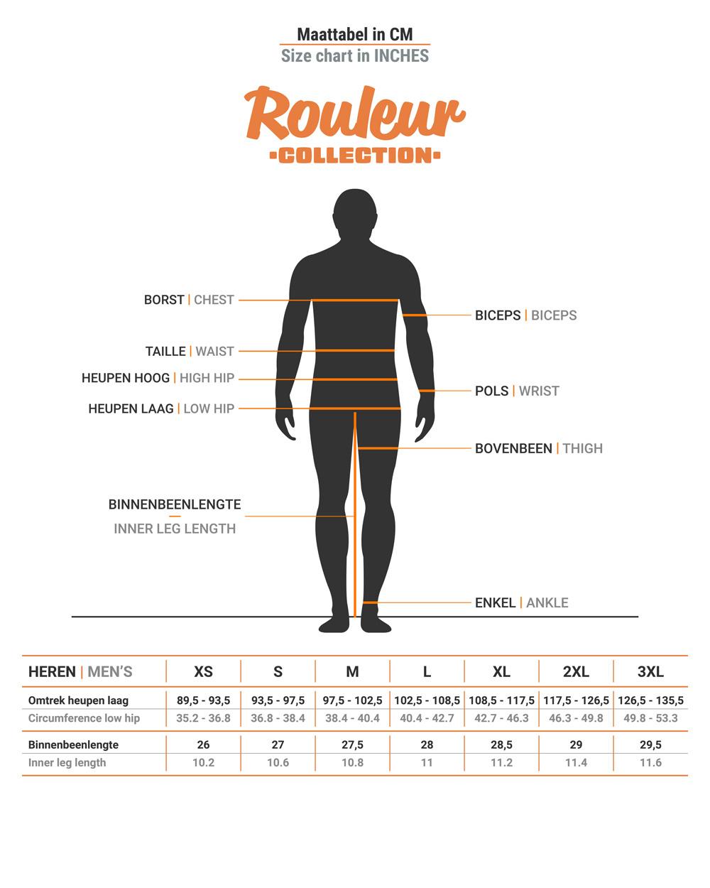 Size chart Rouleur men's bib shorts
