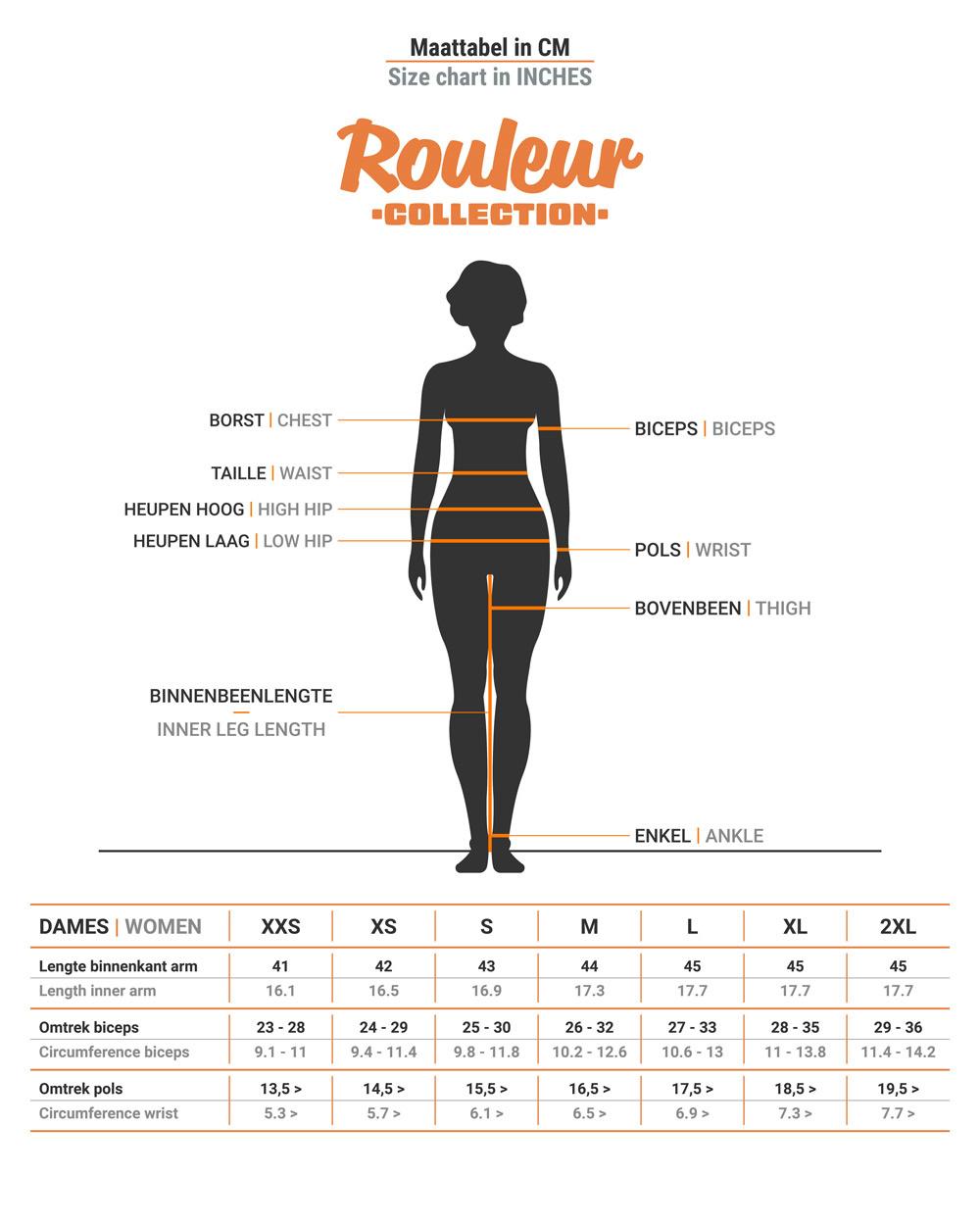 Maattabel BRAVOURE Rouleur armstukken dames