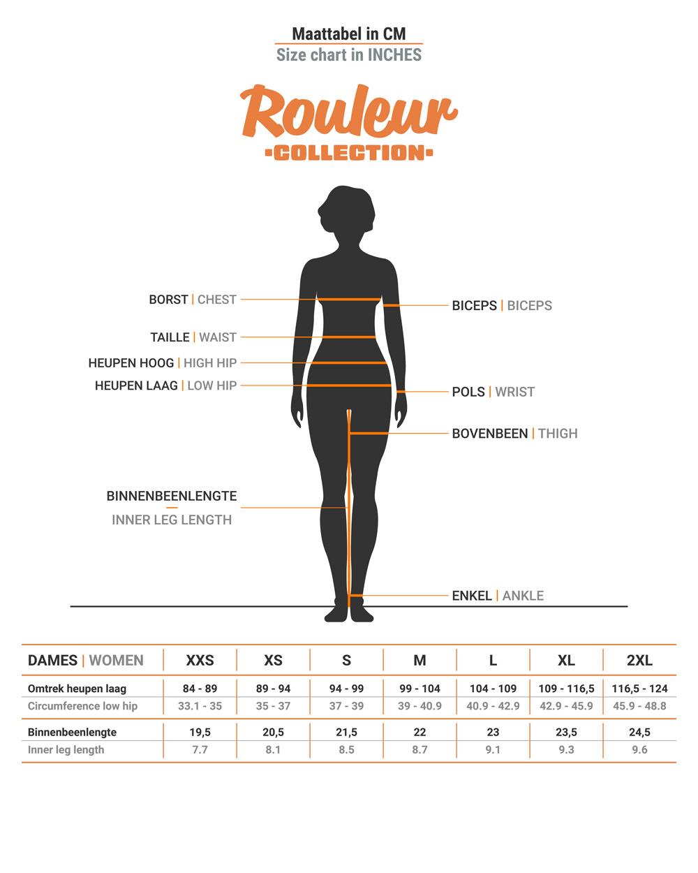 Size chart BRAVOURE Rouleur bib short women