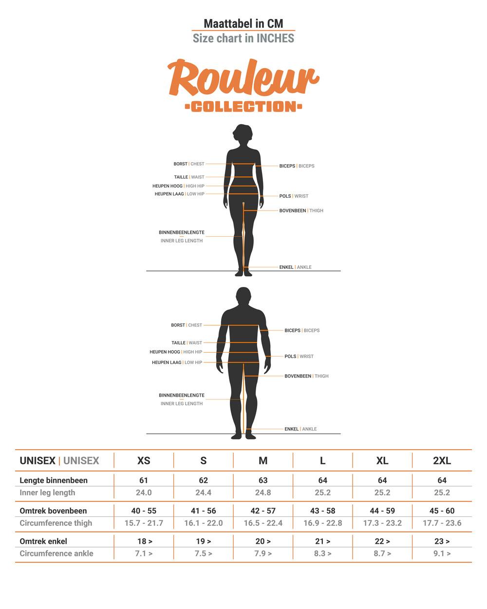 Size table BRAVOURE Rouleur leg screens