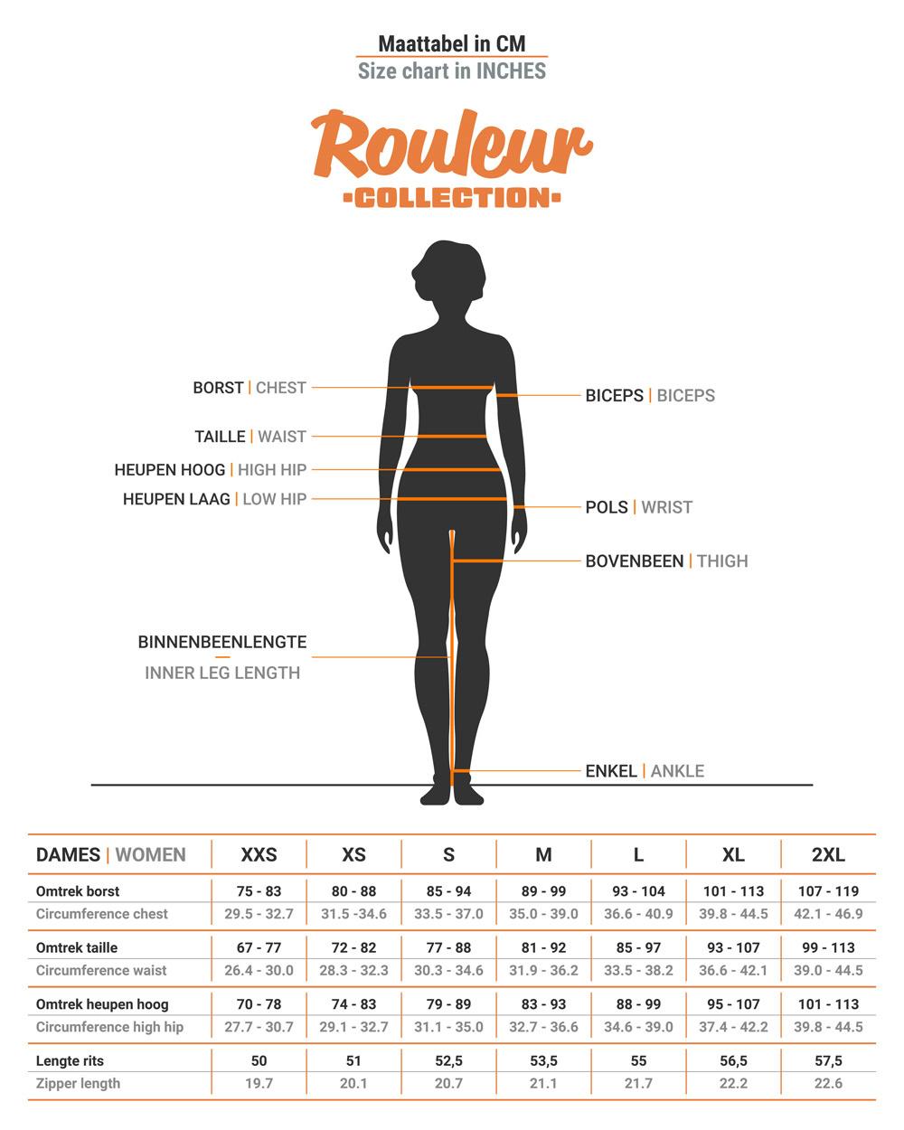 Size chart BRAVOURE Rouleur gilet women