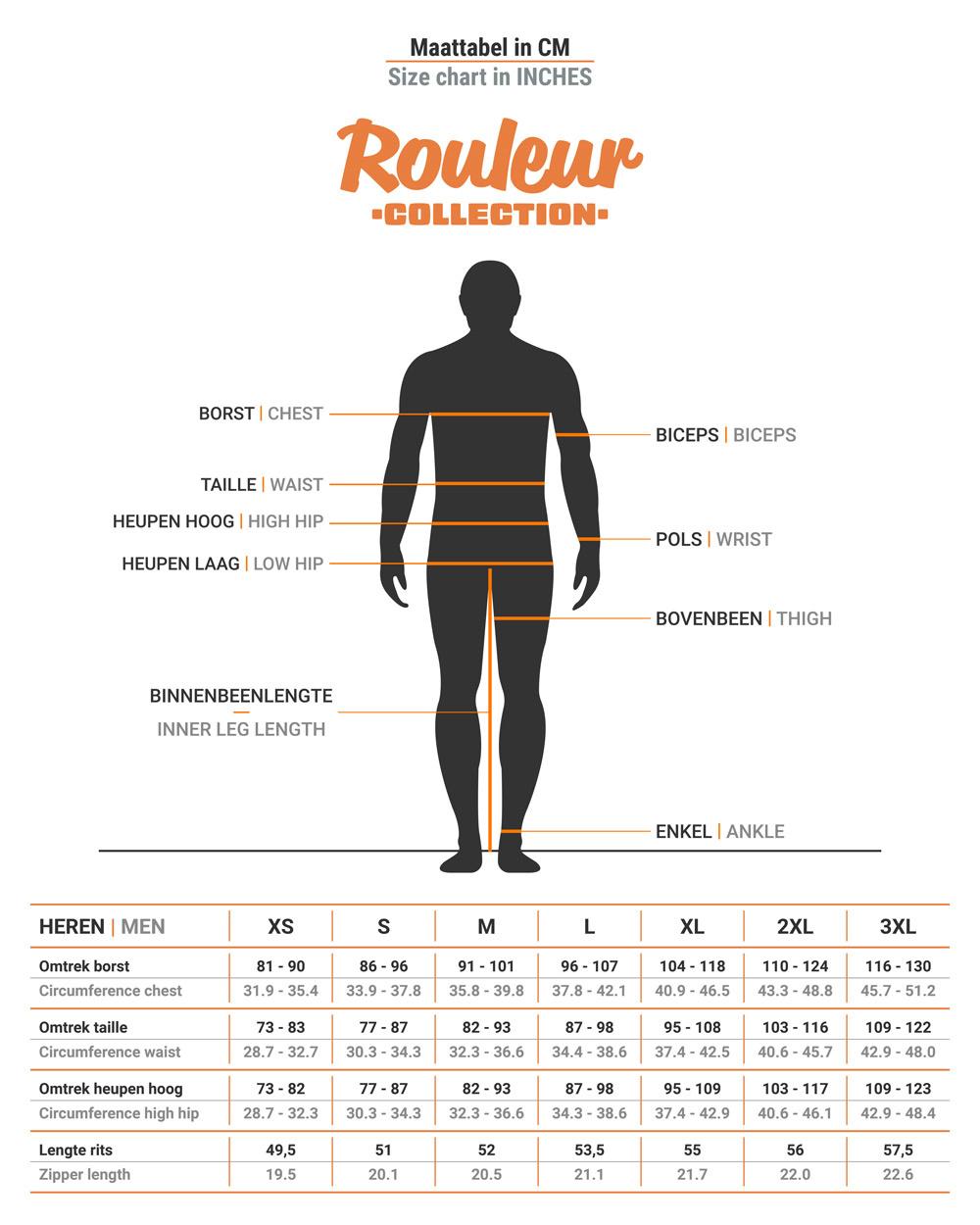Size chart BRAVOURE Rouleur jersey short sleeve men