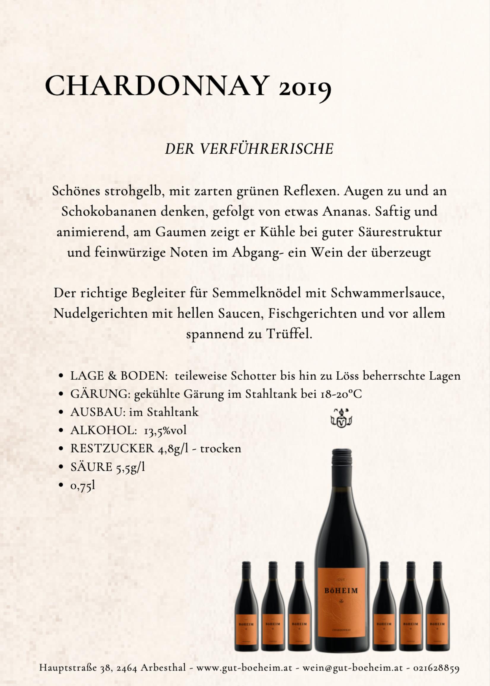 Chardonnay 2019 0,75 l vom Weingut Böheim