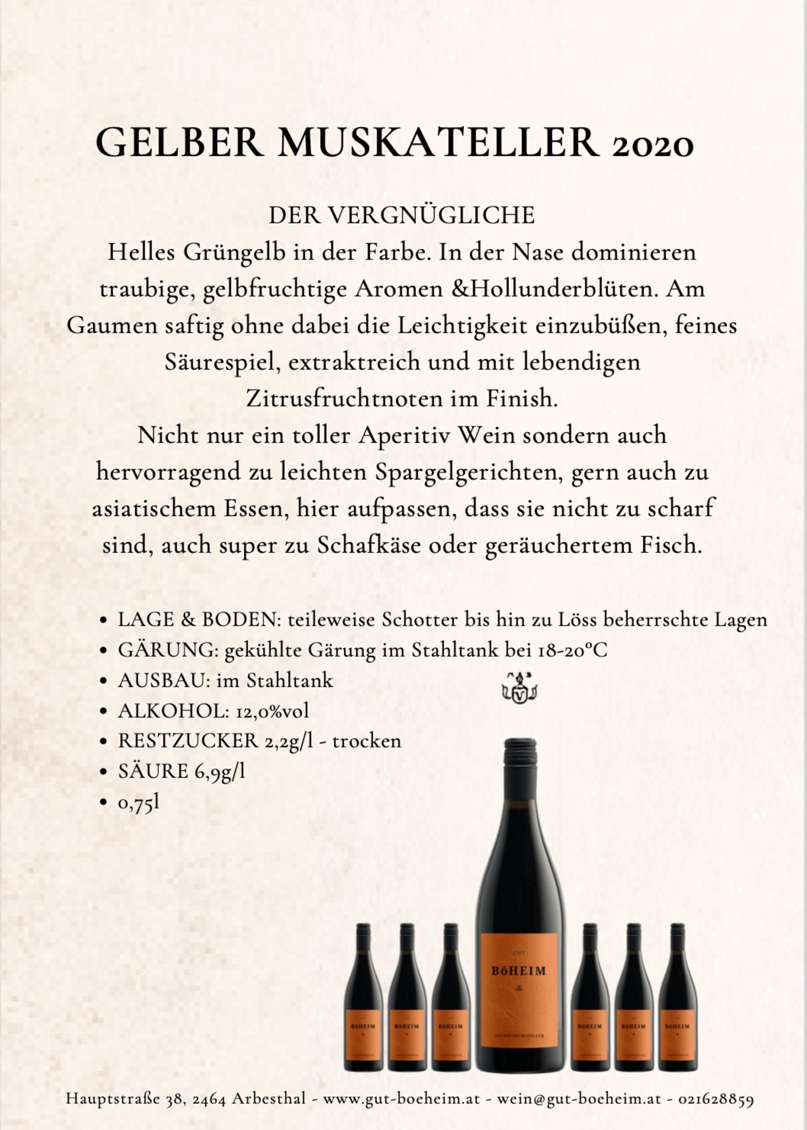 Gelber Muskateller 2020 0,75 l vom Weingut Böheim