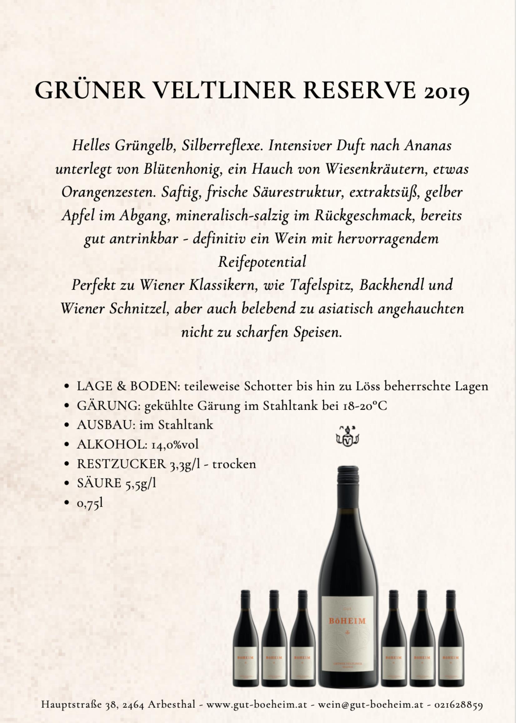 Grüner Veltliner Reserve 2019 0,75 l vom Weingut Böheim