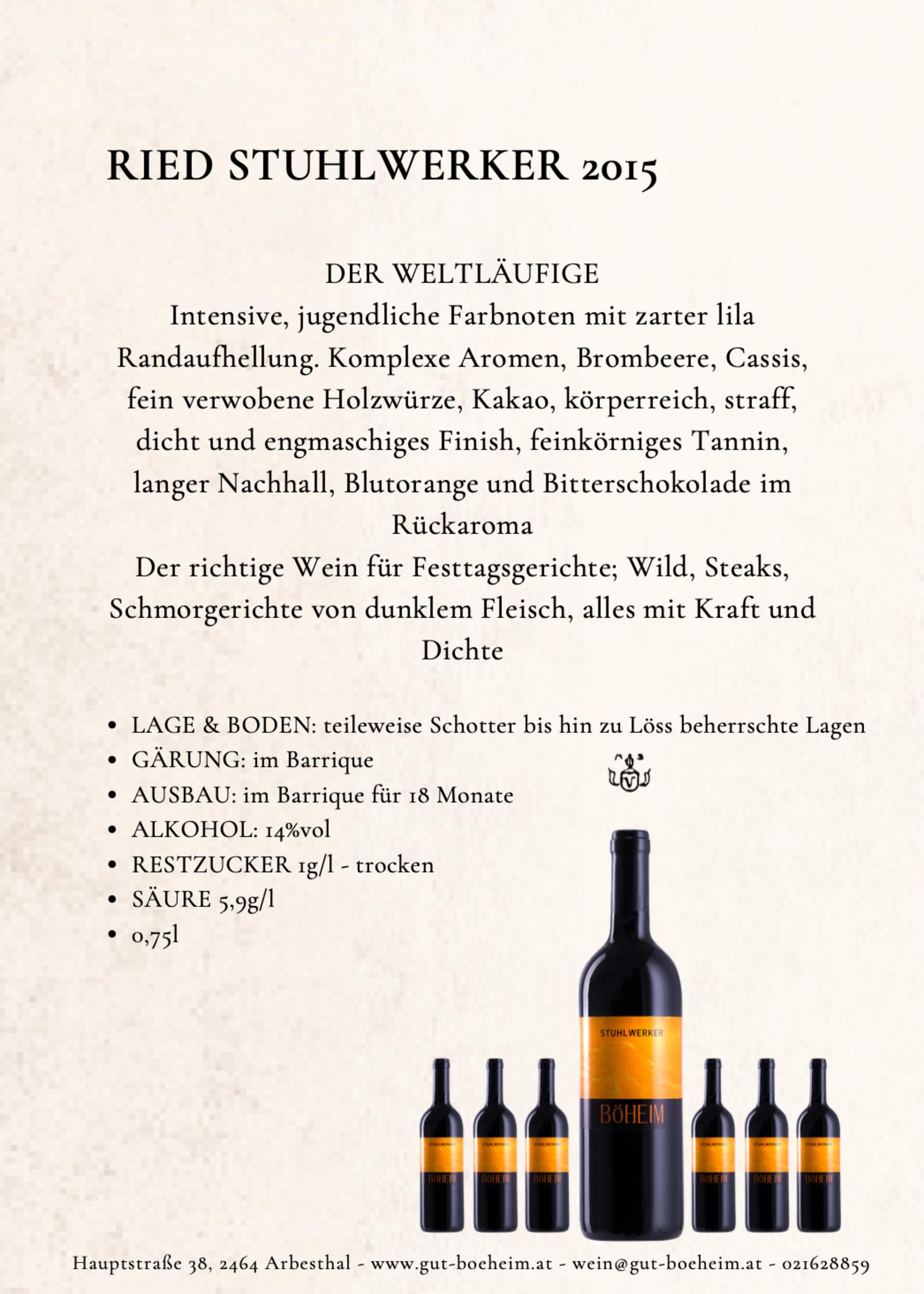 Ried Stuhlwerker 2015 0,75 l vom Weingut Böheim