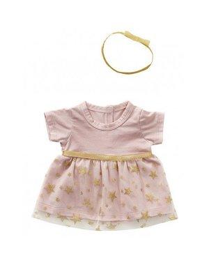 Chique roze jurkje met haarband 45cm