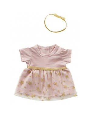 Chique roze jurkje met haarband 50cm