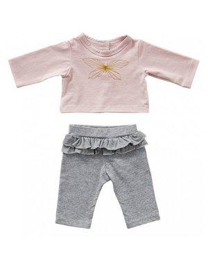 Grijs broekje met roze T-shirt vlinder 35cm