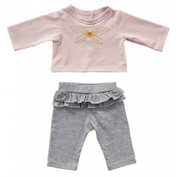 Grijs broekje met roze T-shirt vlinder 45cm