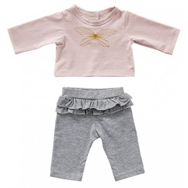 Grijs broekje met roze T-shirt vlinder 50cm