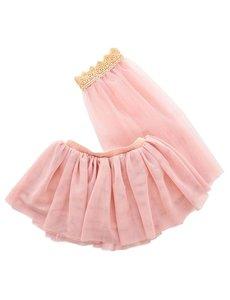 Tule rok met sluier voor de pop licht roze 45cm