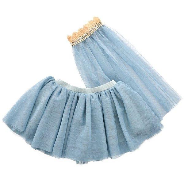 Tule rok met sluier voor de pop blauw 45cm