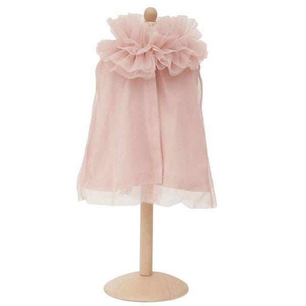 Tule cape voor de pop licht roze 45cm