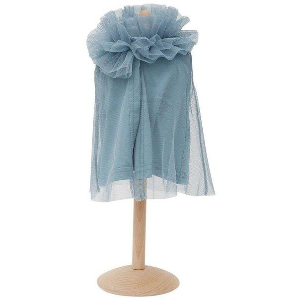 Tule cape voor de pop blauw 45cm