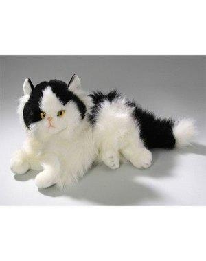 Liggende zwart/witte perzische kat 30 cm