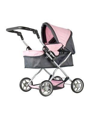 Poppenwagen grijs/roze