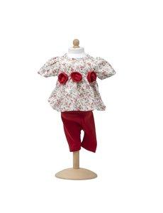Rozen jurkje met rode legging 47-53cm
