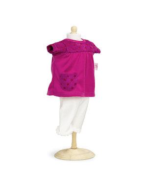 Roze poppenjurkje met legging 42-46cm