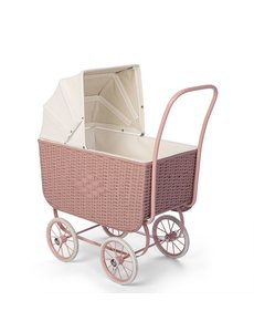 Poppenwagen Retro Rotan roze
