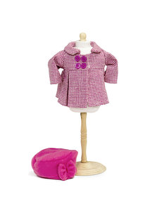 Jas met hoed roze 33-37 cm
