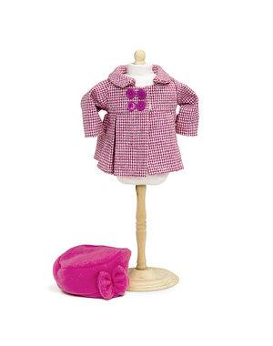 Jas met hoed roze 38-41 cm
