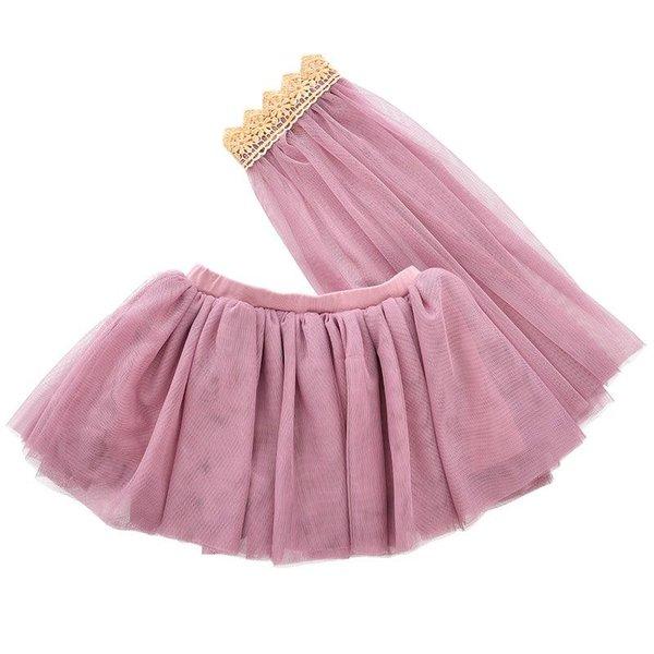 Tule rok met sluier paars/roze 3-5 jaar