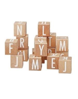 Zak met houten ABC blokken