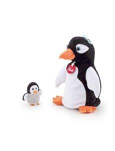 Handpop pinguin met baby 25cm