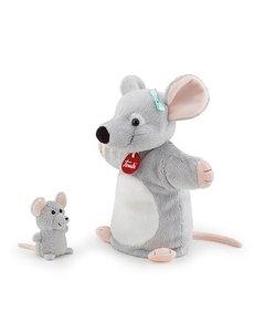 Handpop muis met baby 26cm