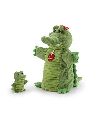 Handpop krokodil met baby 26cm